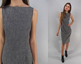 Vintage 90s Minimalist Dress, Shift Dress, Body Hugging Dress, 90s Grey Heather Dress Δ size: xs / sm