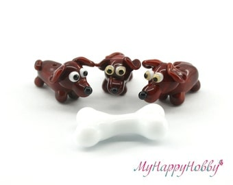 Dachshund dog miniature sculpture figurine bead with bone/ fairy garden supply kit terrarium accessory glass lampwork tiny animal pet