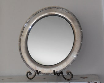 Mirrored Silver Plate Platter - Shabby Chic Vanity Tray - Wilcox S.P. Co International - Easel Mirror - Centerpiece