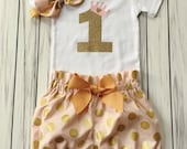 Girls 1st Birthday Onesie Outfit, Bloomers, Vintage Knot Headband, Number One Gold Crown, Carters Onesie, Baby Girl, Pink and Gold Party