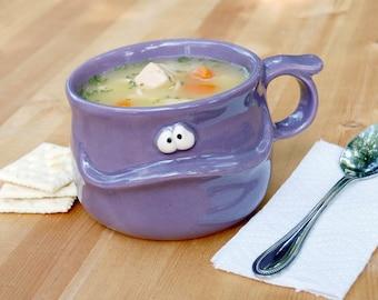 DORIS the Muddybuddy - a hopeful purple ceramic soup mug for your soup, coffee, tea, or hot cocoa