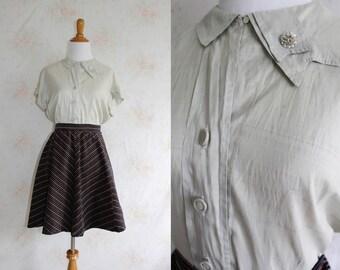 Vintage 50s Silk Blouse, 1950s Peter Pan Collar Shirt, Button Down, Short Sleeve