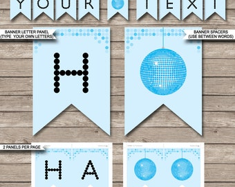 Blue Disco Party Banner - Happy Birthday Banner - Custom Banner - Party Decorations - Bunting - INSTANT DOWNLOAD with EDITABLE text