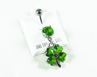 Dangle Belly Ring, CZ Green Shamrock or Four Leaf Clover  Womens Gift