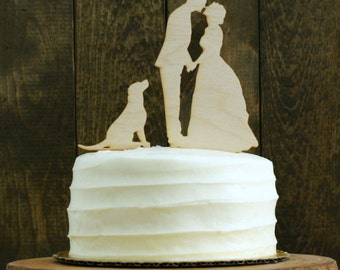 With YOUR DOG or Pet Personalized Silhouette Rustic Wedding Cake Topper with Custom Silhouettes of YOU and your dog or any pet
