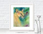 COUGAR Watercolor Art, Cougar Art Print, Cougar Greeting Cards, Original Cougar Painting, Cougar Wall Art, Cougar Wall Decor, Cougar