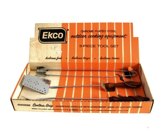 Ekco Utensil Set Barbecue Grill Tools Long Grill Spatula Meat Fork BBQ Tongs Chromium Plated USA