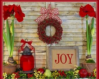 Christmas Wreath  - Christmas Gift - Mini Wreath - 9 Color Choices - You choose robbon