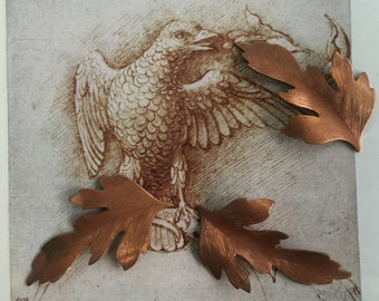 Coppery Etched Leaf  (2pc)
