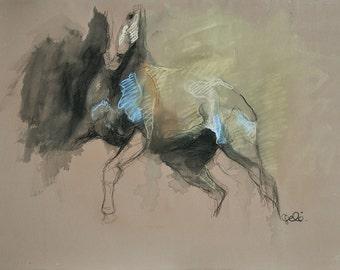 Horse attitude, Animal, Modern Original Fine Art, Pastels and Black Chalk Drawing of a Horse