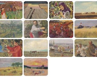 Harvesting. Collection / Set of 14 Vintage Prints, Postcards -- 1950s-1980s