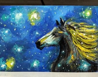"Cosmic Horse Original Painting on 4"" x 6"" heavyweight, linen canvas sheet, Galaxy art, unframed small art, wall decor, acrylic canvas art"