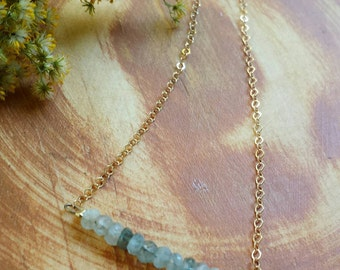 Moss Aquamarine Gemstone Necklace, Sterling or Gold-filled, Gorgeous and Sparkly, *Made-to-Order*