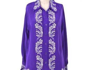 VTG Diane von Furstenberg SILK ASSETS Royal Purple Embroidered Silk Blouse