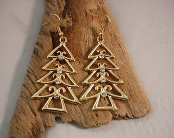 Christmas Tree Gold Plated Earrings - Item 1670