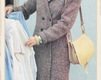 Instant Download PDF Knitting Pattern to make a Calf Length Long Womens Tailored Coat Fitted Double Breasted in 3 Sizes 32 to 38 inch Bust
