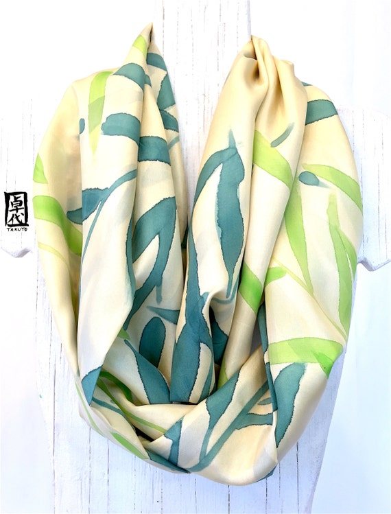 Silk Infinity Scarf, Circle Scarf, Handpainted Green and Beige Scarf, Birthday Gift, Anniversary Gift, Green Bamboo Zen Scarf, 11x72 in Loop