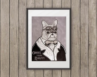 SteamPug Instant Download Digital Image - animal painting pug vintage for christmas illustration gift pug portrait poster lover