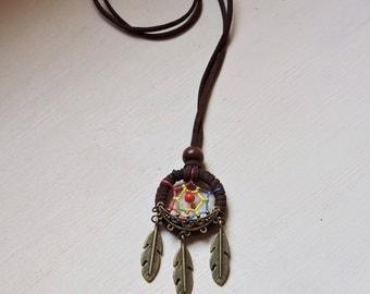 Brown suede wrapped Dream catcher bronze charm pendant, Boho pendant, Hippie dream catcher necklace