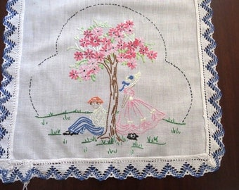 Vintage Hand Embroidered Dresser Scarf - Southern Belle with Beau Sitting Under Tree - Table Topper Table Runner - Vintage Linens