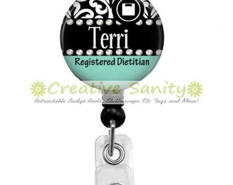 Retractable Badge Holder, Personalized Black Damask Registered Dietitian, Choice of Badge Reel, Carabiner, Lanyard or Stethoscope ID Tag