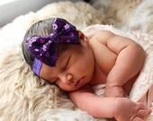 Baby Headbands, Purple sequin Bow Headband, Head wraps, Girls Headband,Gold baby headband,Big Bow Headband,Sequin Bow Headband,