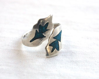Adjustable Turquoise Ring Sterling Silver Bypass Wrap Band Size 8 .5 Vintage Mexican Jewelry Arrow Leaves