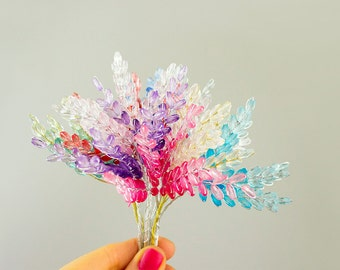 NEW ITEM! Clear Crystal Bead Leaves Pastel Rainbow Bouquet / Mix And Match Colors! / Bridal / Hair Piece / Wedding / Corsage / Millinery
