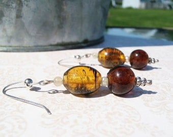 Honey Dangle Earrings, Honey Earrings, Amber Earrings, Brown Earrings, Glass Drop Earrings, Brown Crystal Earrings, Honey Glass Earrings