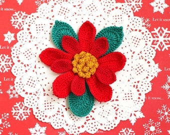 Christmas brooch pin Holiday jewelry Red poinsettia Gift for her, for mom, mother, grandma Large crochet flower Big Floral Winter fashion