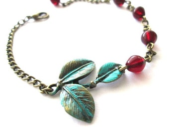 Verdigris patina leaf bracelet antique bronze brass jewelry with red czech beads vintage style