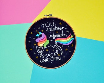 Unicorn Embroidery Hoop // Galentine's Day Gift - Leslie Knope Ann Perkins Compliment - Rainbow-Infused Space Unicorn - Wall Art