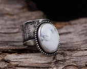 White Howlite Ring-Sterling Silver White Turquoise Magnesite Wide Ring-Vintage Inspired Ring-Marble like Rings