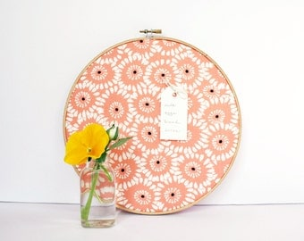 Cork Bulletin Board Modern Peach Coral Floral Embroidery Hoop with Tacks Organize Wall Decor Home Office