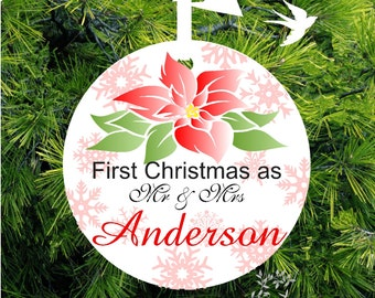 First Christmas Ornament Married Personalized Wedding Gift Our First Christmas Together Ornament - Poinsettia Snowflake - lovebirdslane
