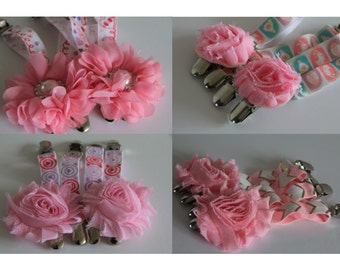 THIGH HIGH sock GARTERS  crocodile clips  onto shorts or knickers  pretty shabby flower white roses  spring time  fresh and clean suspenders