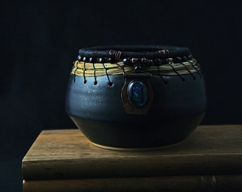 Ceramic, Pine Needle Dichroic Gem Bowl - 100% Charity Donation & Free Shipping