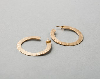 Silver or Vermeil Hammered Flux Hoop   Sequence Collection