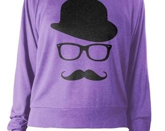 Womens Long Sleeve Lightweight Pullover - Mustache Sweater - Mustache And Wayfarer Sweatshirt - American Apparel Raglan