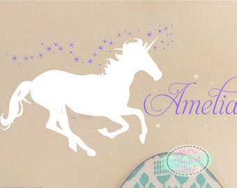 Unicorn Wall Decal Girl Name Wall Decal Girls Bedroom Decor Horse Decals  Horse Decor Girls Birthday Gift Bedroom Wall