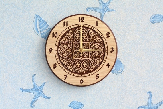 Wood wall clock Wood clock Wooden clock Round clock Christmas gift Birthday gift Room decor for Kitchen decor Russian ornament