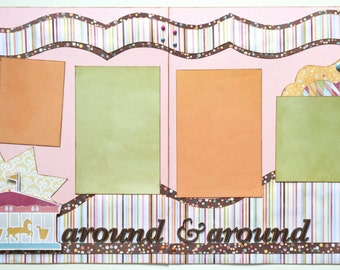 Around and Around Pre Made 2 Page 12x12 Scrapbook Layout