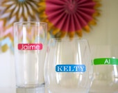 Personalized Color Pop Drink Labels with Names - Removable and Reusable - Glass Cling Labels