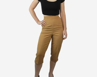 1960s tan pedal pushers / Far Western vintage capris / high waisted women's pants nwt