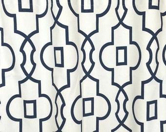 10% OFF SALE Premier Prints Bordeaux Trellis Curtain Panels. Window Drapes. 63, 84, 96, 108, 120 Lengths. Curtains. Navy Blue Geometric