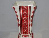 Ukrainian Folk Art Red Porcelain Vase