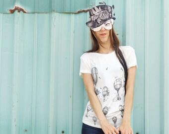 Womens tshirt - Womens Tees - balloon Tshirt - balloon Art drape tee
