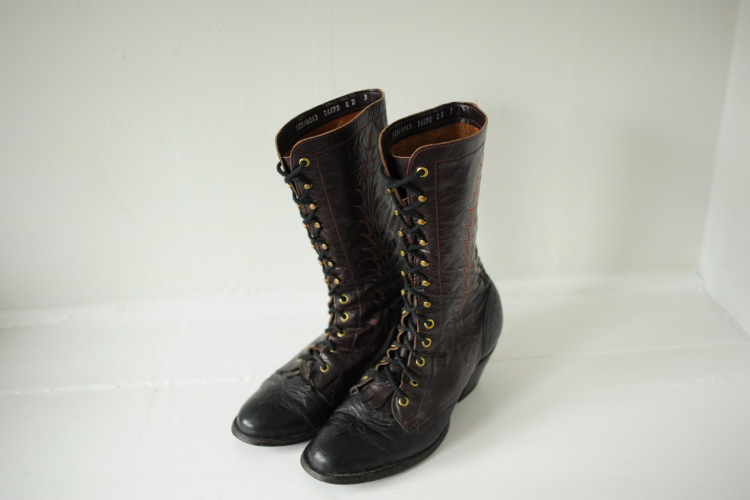 Vintage tony lama black and burgundy leather roper boots mens