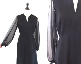 Vintage 1960's Black Mini Dress Sheer Sleeves Size Small