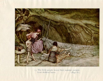 Vintage Print Peter Pan by Arthur Rackham Illustration for Children Nursery Wall Art Fairy Tales